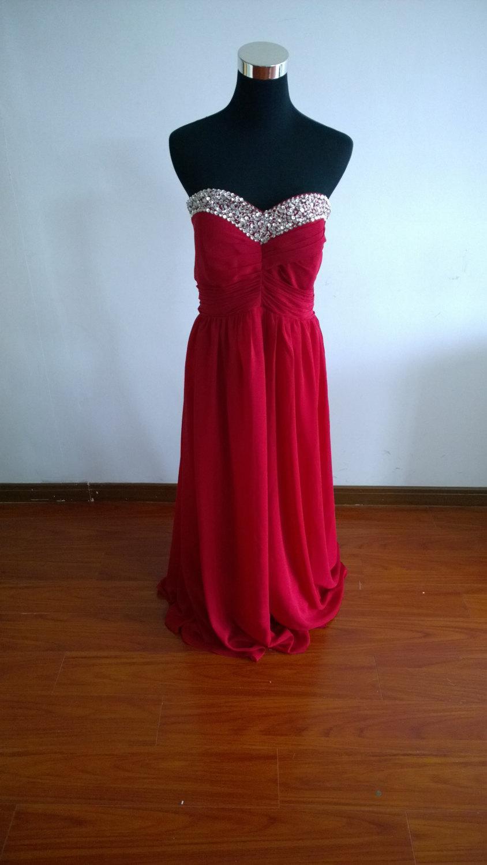 Wedding - Red prom dress long prom dress beading prom dress homecoming dress evening dress long prom dress cocktail dress cheap prom dress