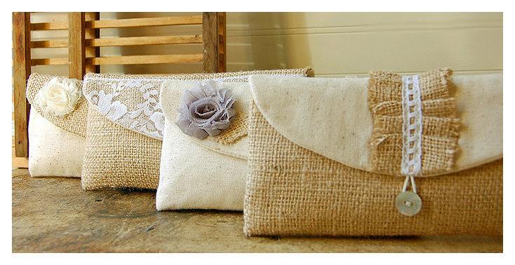 Mariage - burlap lace wedding clutch set 4 rustic bag purse Personalize Bridesmaid party cotton linen Pouch gift MakeUp