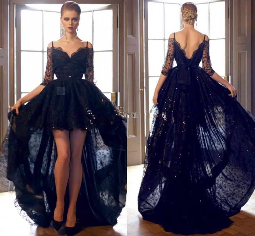 Sexy Hi Lo 2016 Black Prom Dresses Lace Formal Cocktail Dresses Beads  Bateau Neck Long Sleeves Formal Evening Gowns Arabic Party Ball Gowns  Online with ... b448acdfe10a