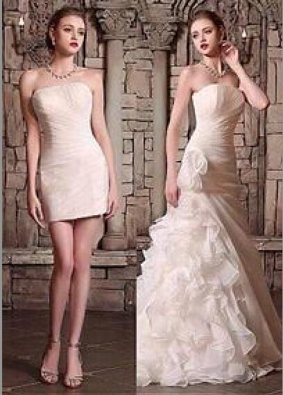 Wedding - 2015 Wedding Dresses Elegant Weeding Bridal Gowns Sweep Train Detachable Strapless Wedding Dress Online with $138.85/Piece on Hjklp88's Store