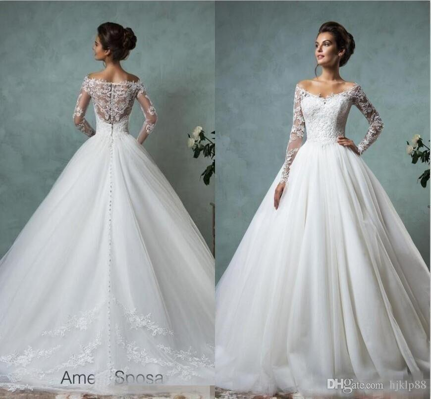 360048baf8 Amelia Sposa Long Sleeves Wedding Dresses Lace Bridal Gowns Plus ...