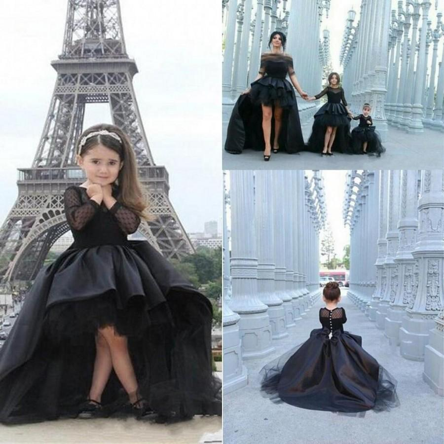 Hi lo pageant dresses for girls jewel long sleeve flower for Dresses to wear to a wedding for teens