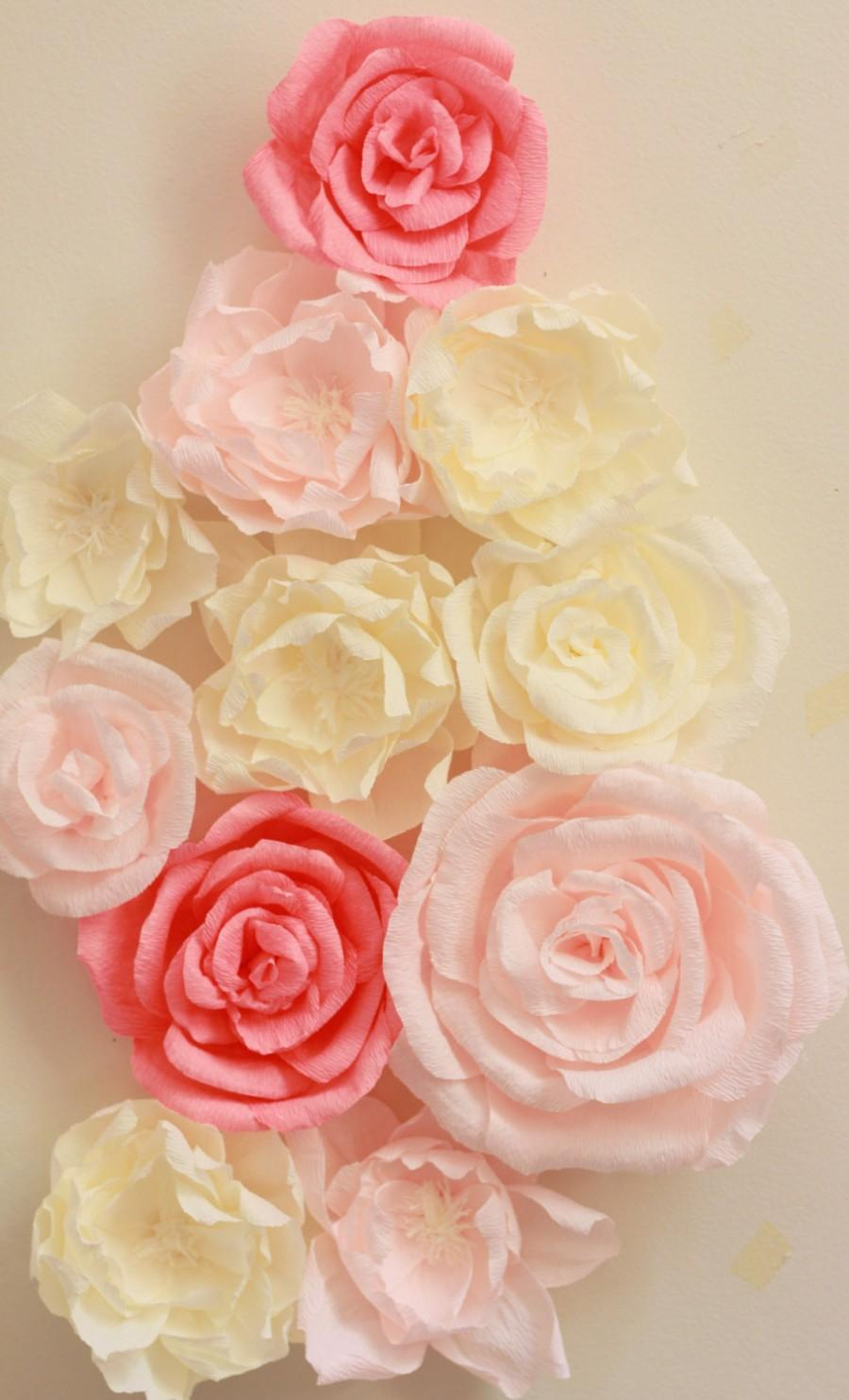 Wedding - Giant paper flower display with roses and peonies. Shop window display. Nursery decor. Flower wall. Paper flower backdrop