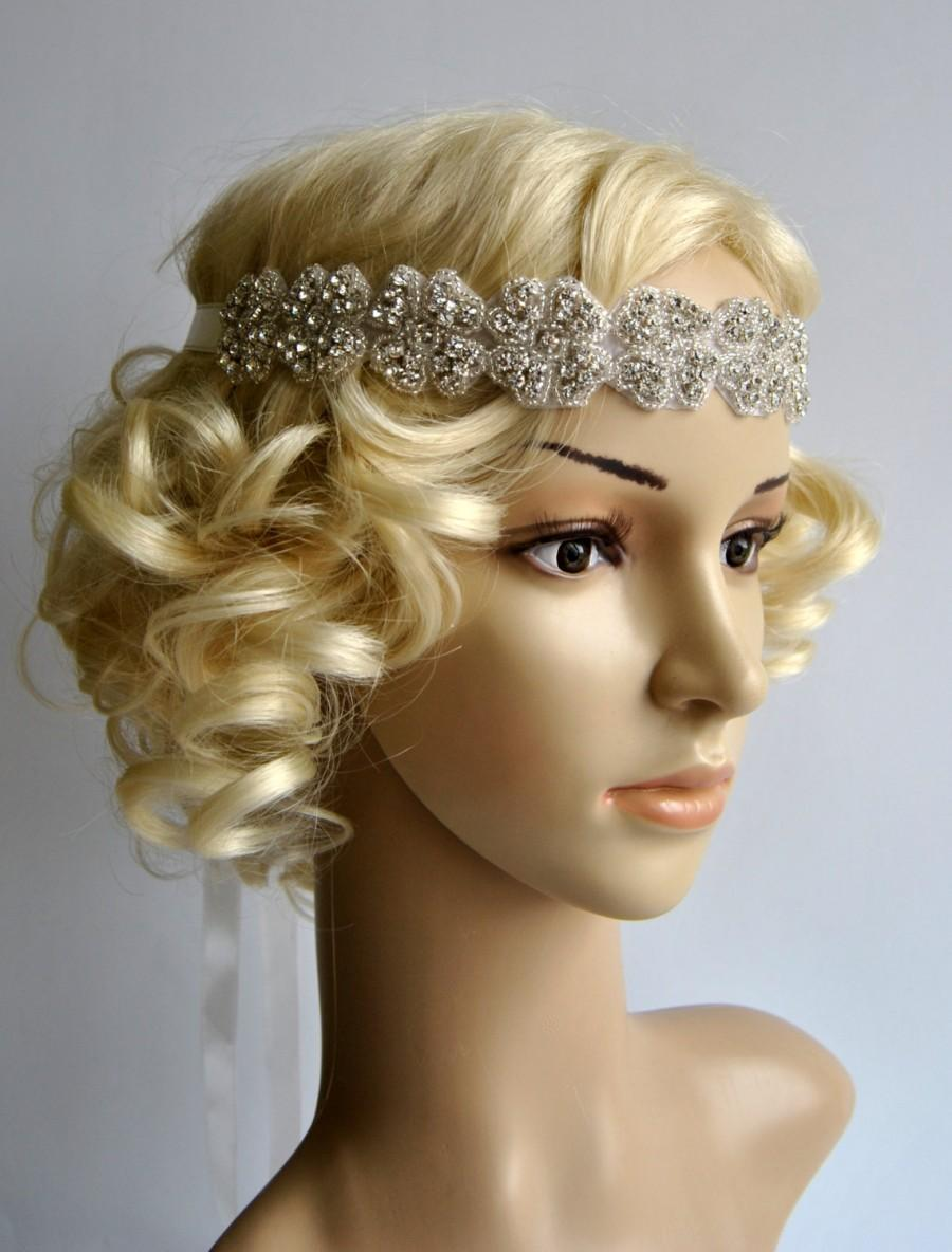 rhinestone headband wedding bridal headband crystal ribbon tie on wedding headpiece halo bridal headpiece 1920s flapper headband