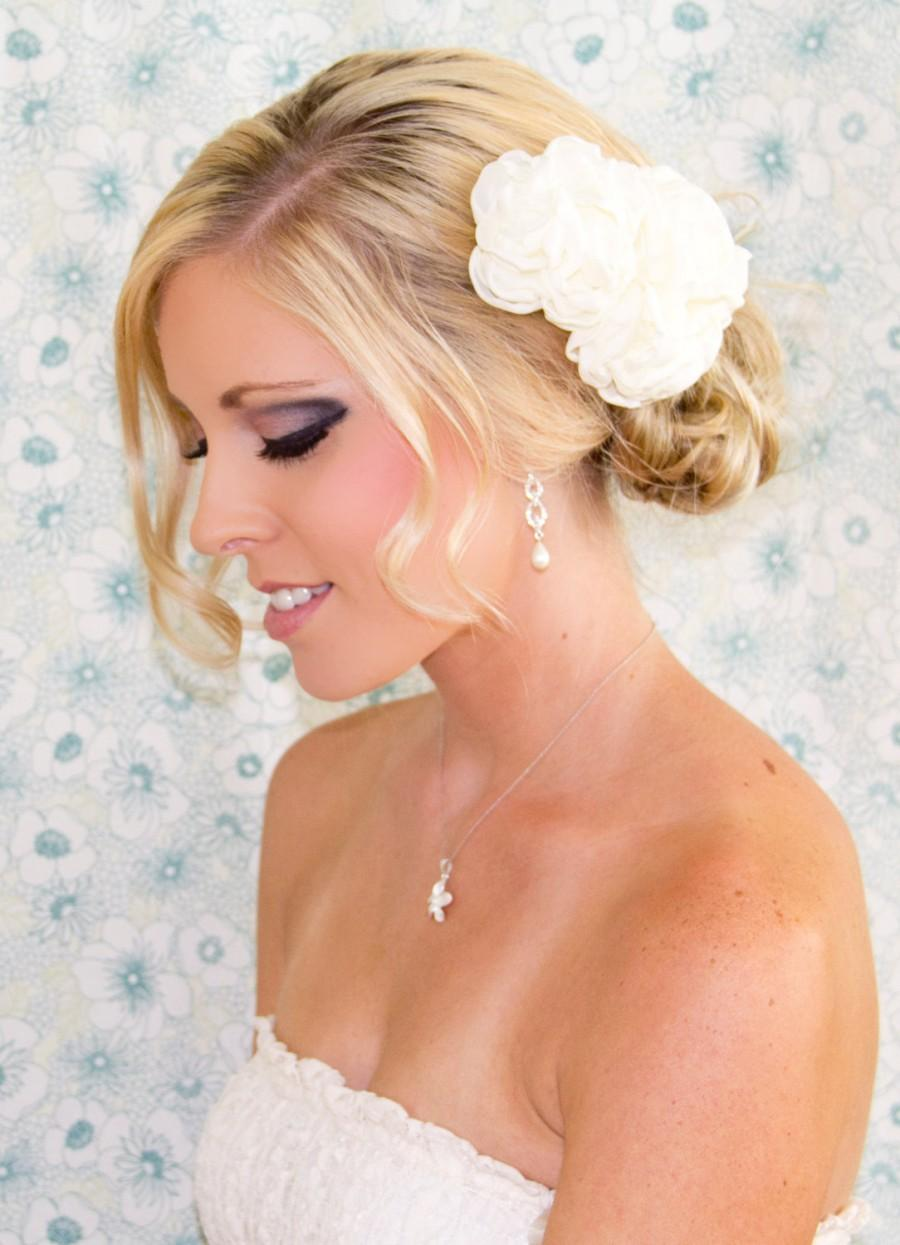 Hochzeit - Bridal Hair Flower Duo, 3.5 & 2.5 Inch Wedding Hair Flowers, White or Ivory Hair Clips, Style 2026, Made to Order