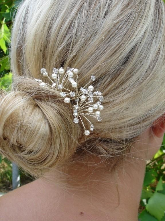 Mariage - Bridal Hair Pins, Swarovski Crystal & Pearl Hair Pins, Wedding Hair Accessory