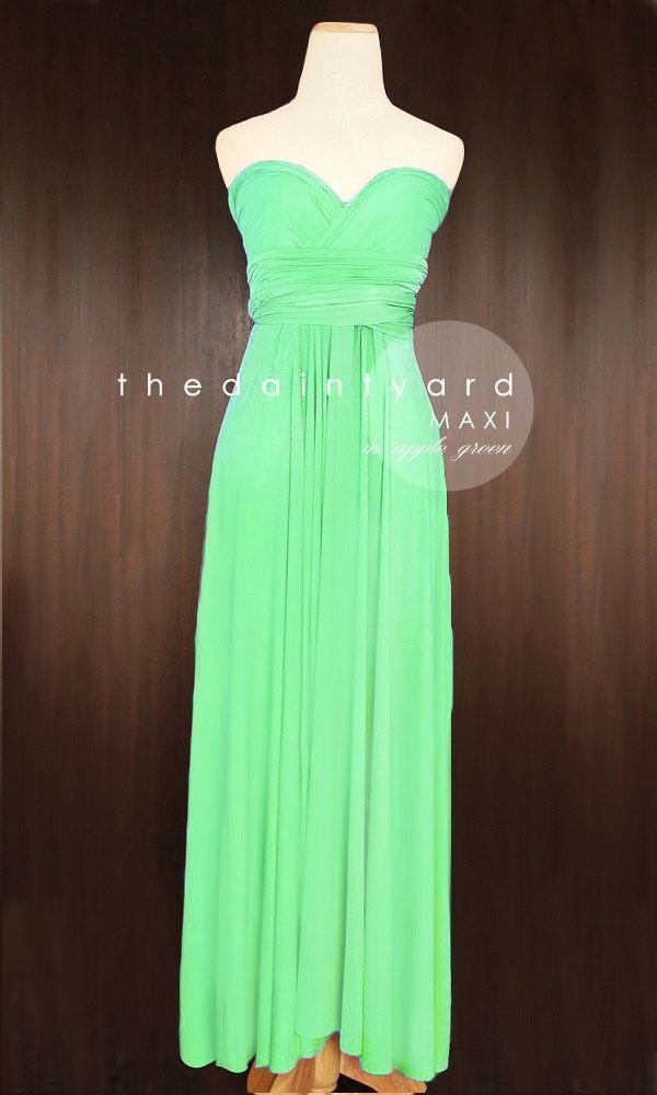 Maxi apple green bridesmaid dress convertible dress for Apple green dress for wedding