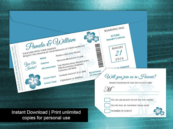 Diy Printable Wedding Boarding Pass Luggage Tag Template #2438090