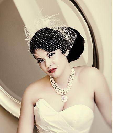 Hochzeit - Bridal Birdcage Veil, Ivory Veil, White Netting, Vintage Style Wedding, Medium Blusher, VERA