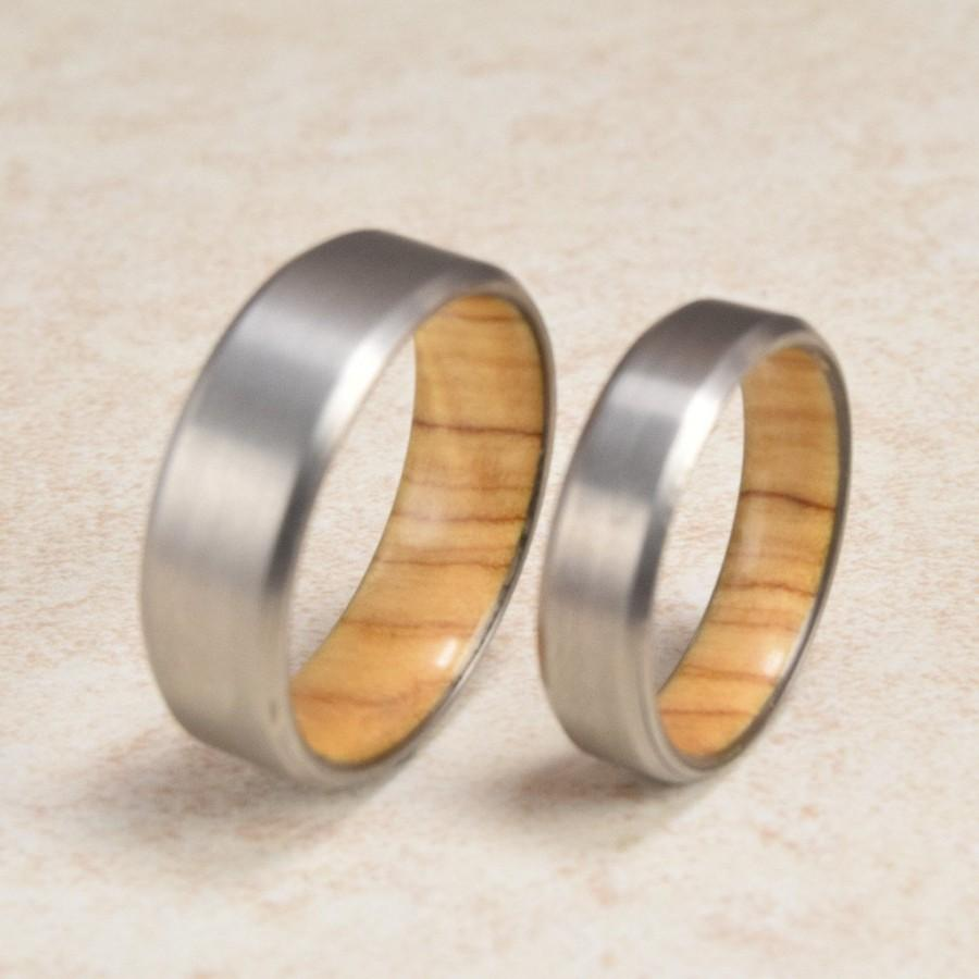hardwood wedding media olive couples exotic wood rings titanium set matched bands
