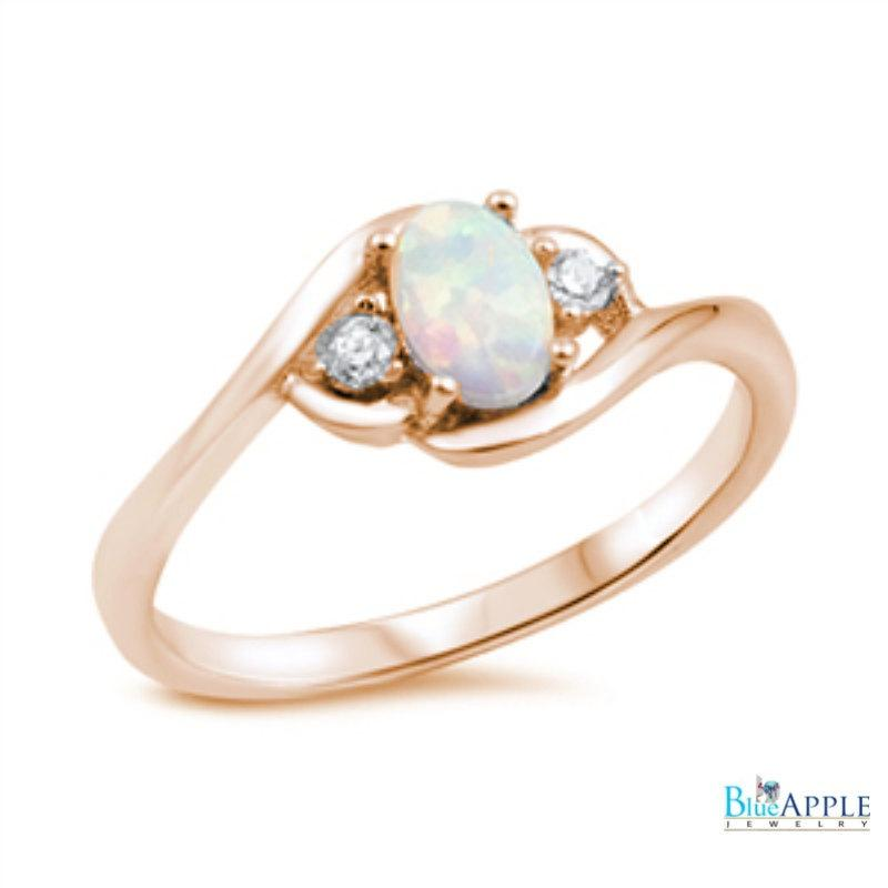 Oval Cut White Opal Ring Pink Rose Gold Solid 925 Sterling Silver