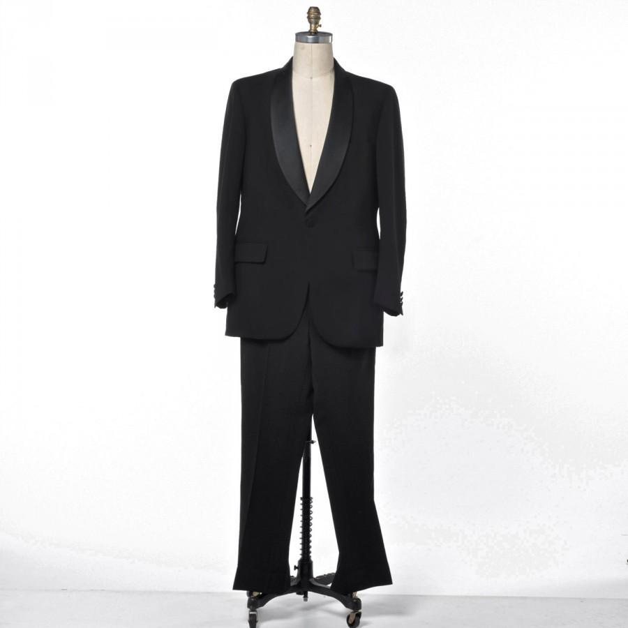 Hochzeit - Black Tuxedo Suit Men's Vintage Jos. A. Banks Palm Beach Formals size 36R
