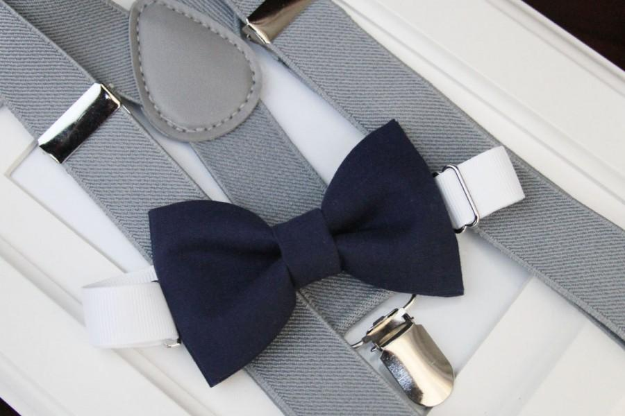 Hochzeit - Navy bow-tie & Light gray elastic suspender set, Boy bow tie and suspenders set , Men bow tie and suspenders