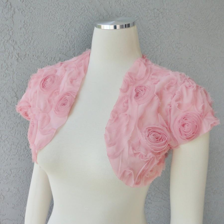 Bridal Wedding Bolero Shrug David Tutera Chiffon Fabric Ribbon Rose ...