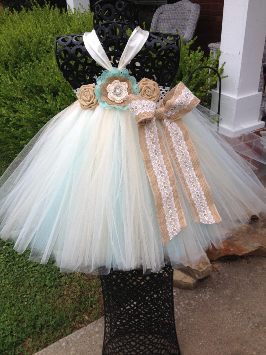 Свадьба - Aqua& Burlap Couture Flower Girl Tutu Dress/ Shabby Chic Wedding/ Rustic Wedding/ Country Wedding