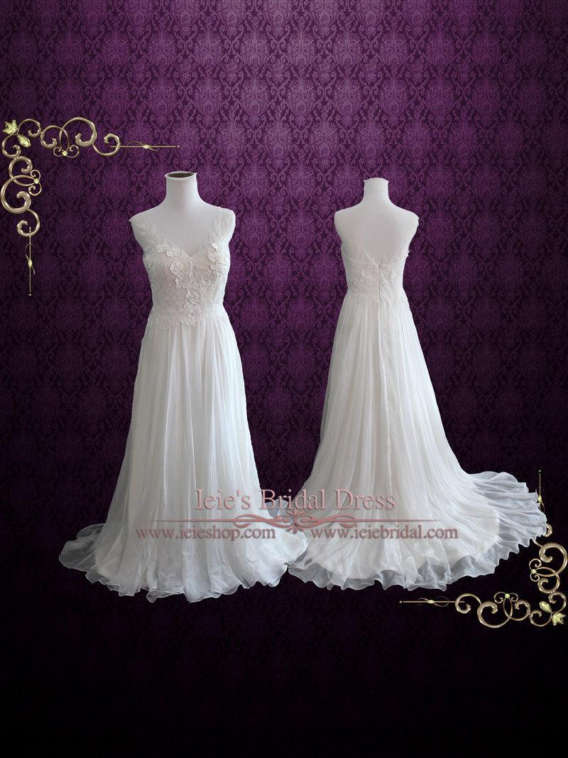 Whimsical Grecian Silk Chiffon Wedding Dress With Floral