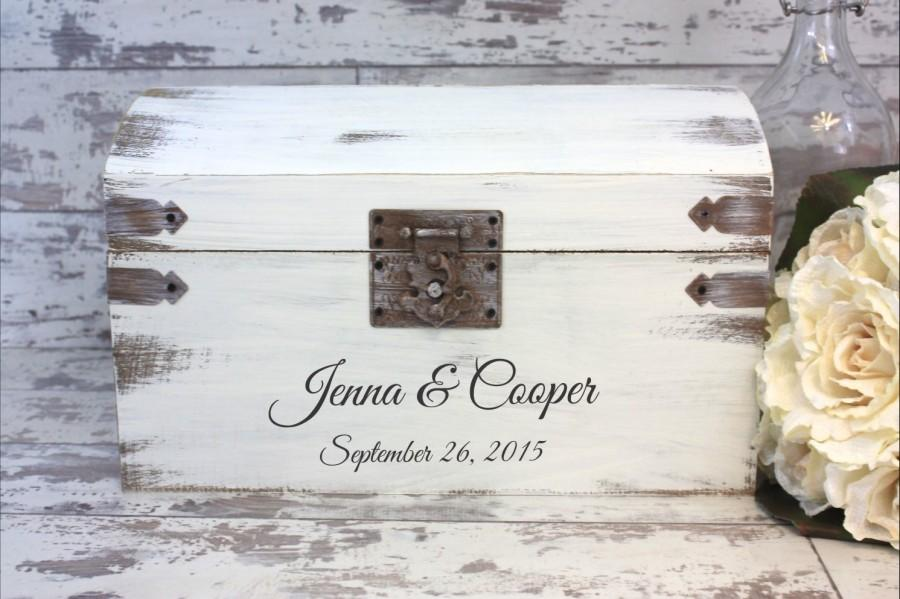 On Wedding Card Box Engraved With Bride And Groom S Names Date Personalized Decor