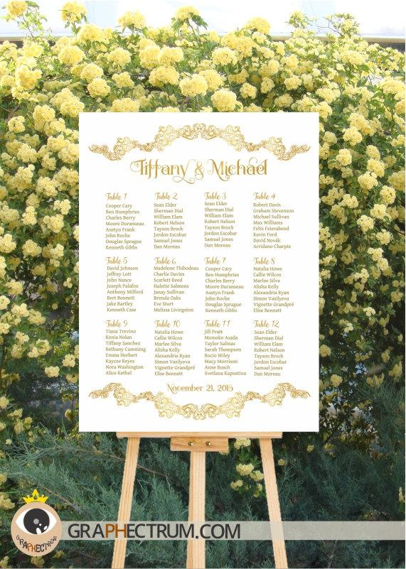 زفاف - Wedding Seating Chart DIY Printable / Floral GOLD Crown Wedding Sign / Reception Table Plan / Find Your Seat / Table Assignment Board > PDF