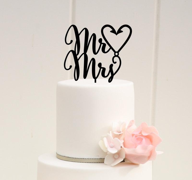 Wedding - Mr & Mrs Fishing Hook Heart Wedding Cake Topper - Custom Cake Topper