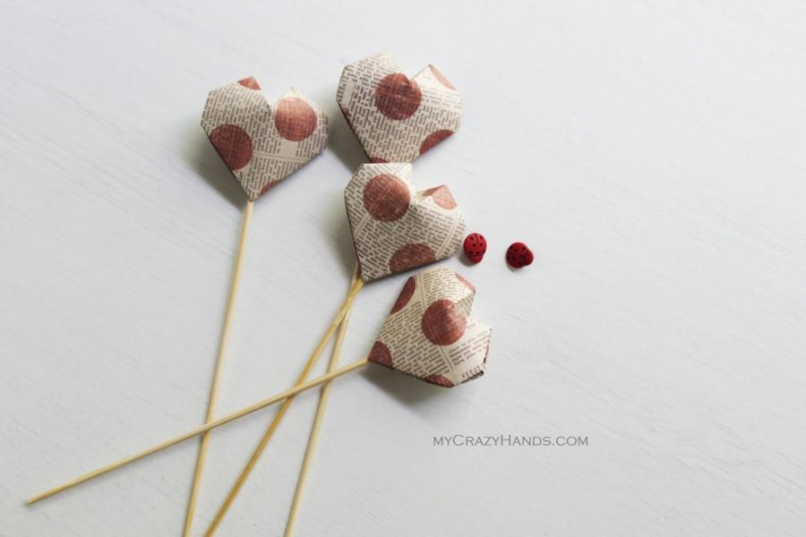 Wedding - 4 origami cake picks . table decorations . origami heart decors . party picks -red dots on text