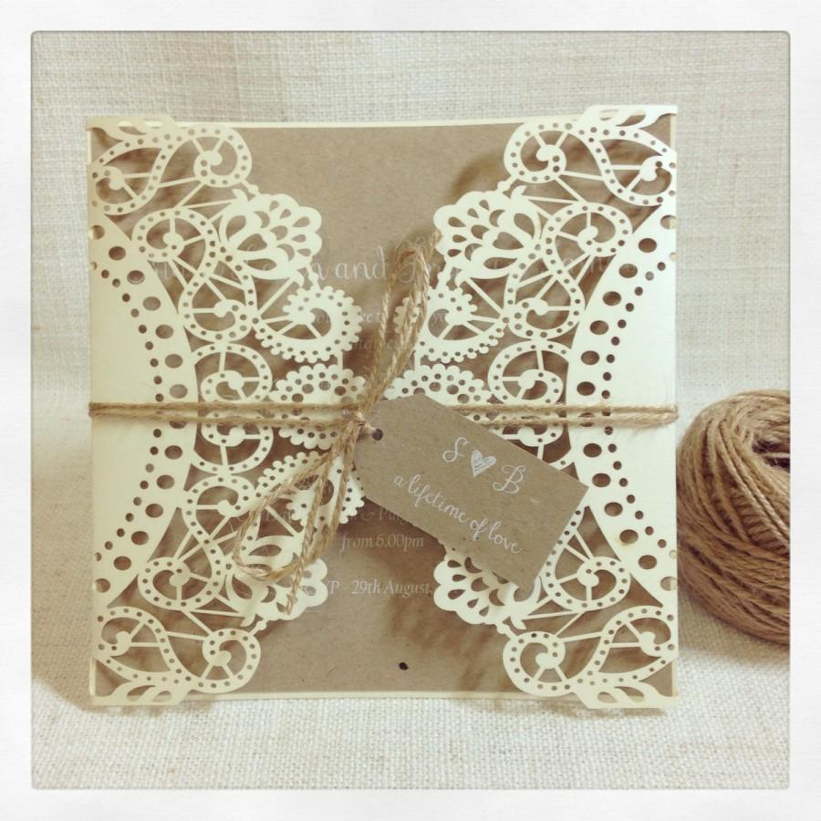 rustic wedding invitation laser cut invitation sample - What To Write On Wedding Invitations