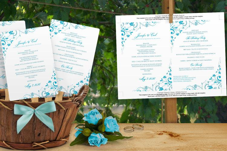 زفاف - DiY Wedding Fan Program Template - DOWNLOAD Instantly - EDITABLE TEXT - Chic Bouquet (Malibu Blue) 5 x 7 - Microsoft® Word® Format