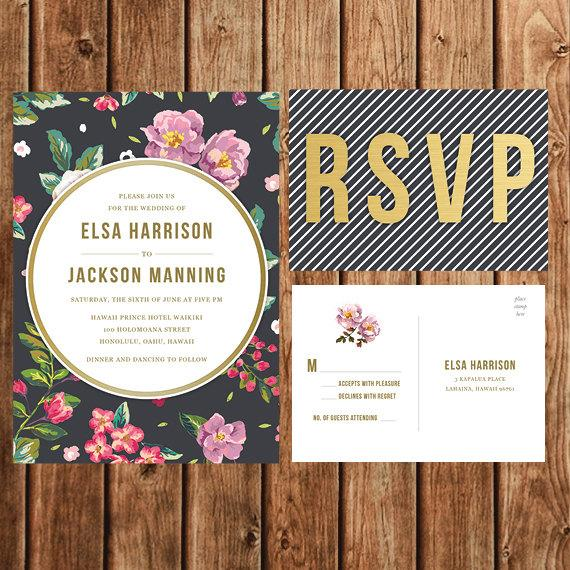 Wedding - Destination Wedding Invitation, Printable, Black, Lavender, Tropical, Floral, Vintage, Sophisticated, Upscale, Modern, Postcard