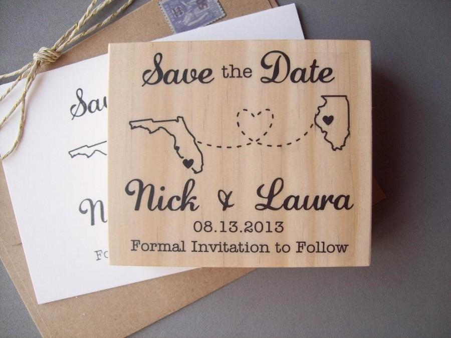 Wedding - Save the Date Rubber Stamp with Connecting States or Countries, DIY Wanderlust Wedding Destination Wedding