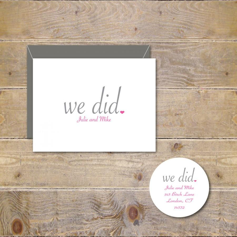 Wedding Thank You Cards We Did Just Married Rustic Bridal Shower Notes Do