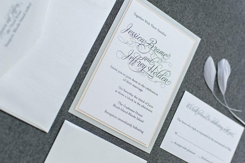 Wedding - Shimmery Silver and Blush Pink Formal Wedding Invitation - Romantic, Simple, Traditional - Custom Invitations - Jessica & Jeffrey