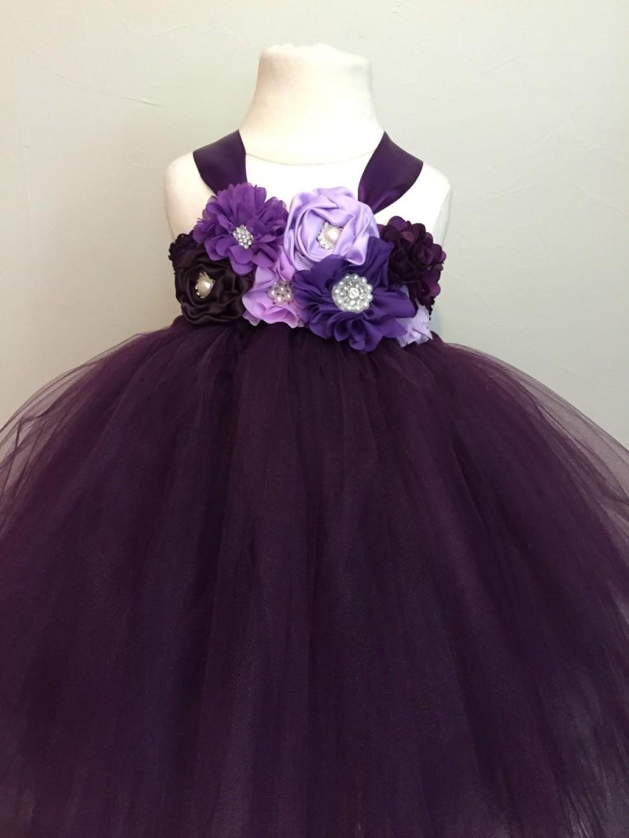 Plum Purple Lavender Girls Tulle Dress, Plum Flower Girl Dress ...