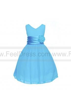 Wedding - A-line Knee-length V-Neckline Chiffon Flower Girl Dress