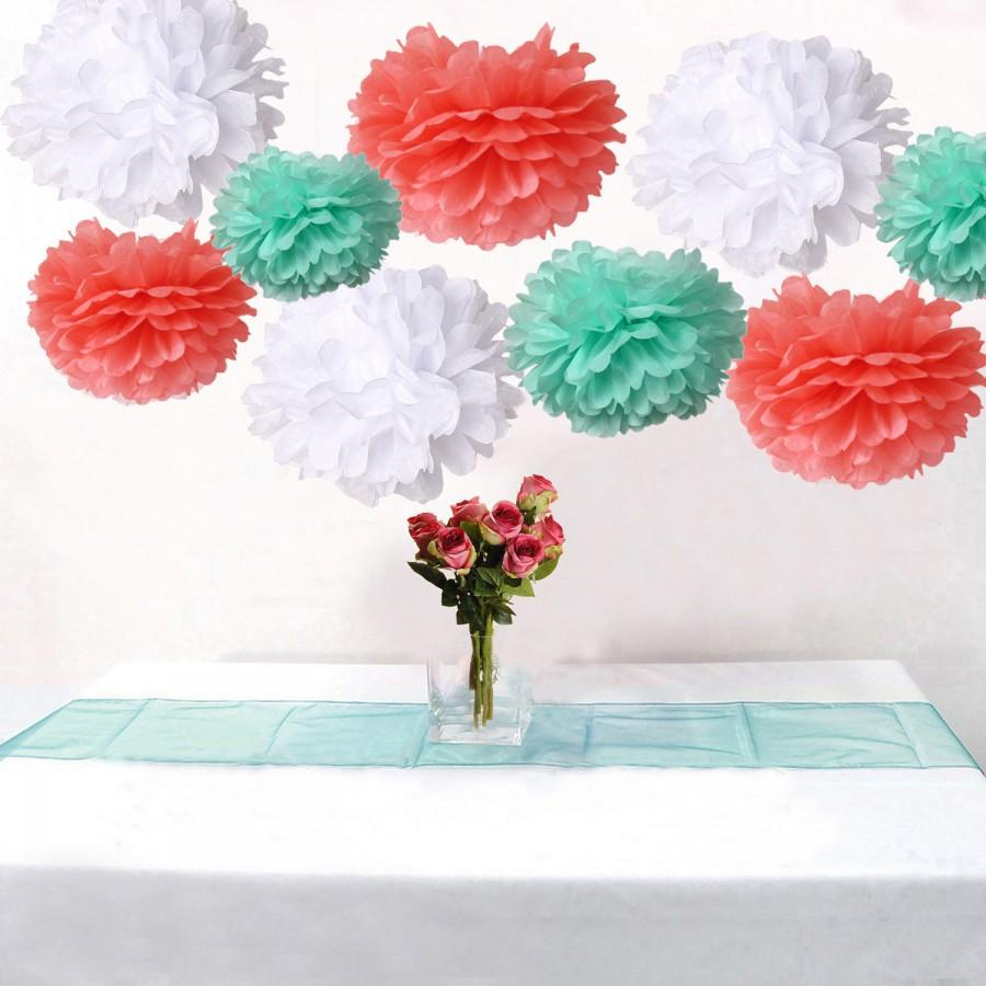 Свадьба - Bulk 18pcs Mixed Coral Mint White DIY Tissue Paper Flower Pom Poms Wedding Birtday Bridal Shower Hanging  Party Decoration