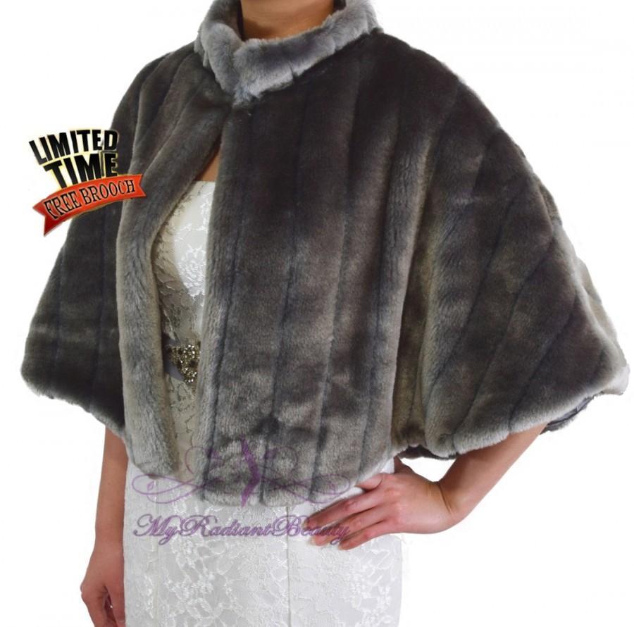 Mariage - Bridal Cape, Faux Fur Wrap, Bridal Gray Fur Mink Cape, Bridal Shrug, Wedding Stole, Bridal Wrap, Bridal Fur Cape, Faux Fur Shawl MC108-GRAY
