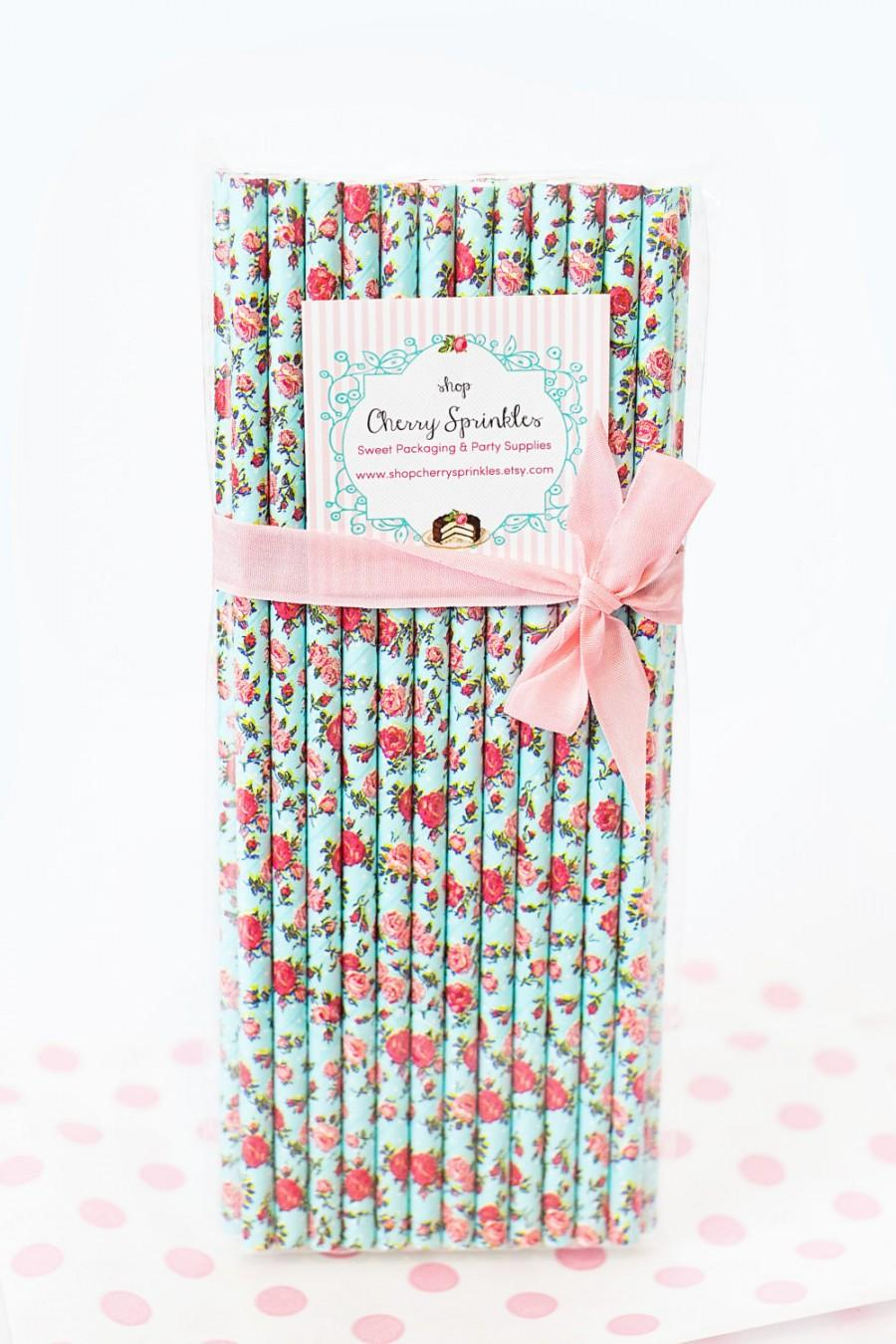Aqua Floral Straws With Red Roses Vintage Party Decor Floral Paper