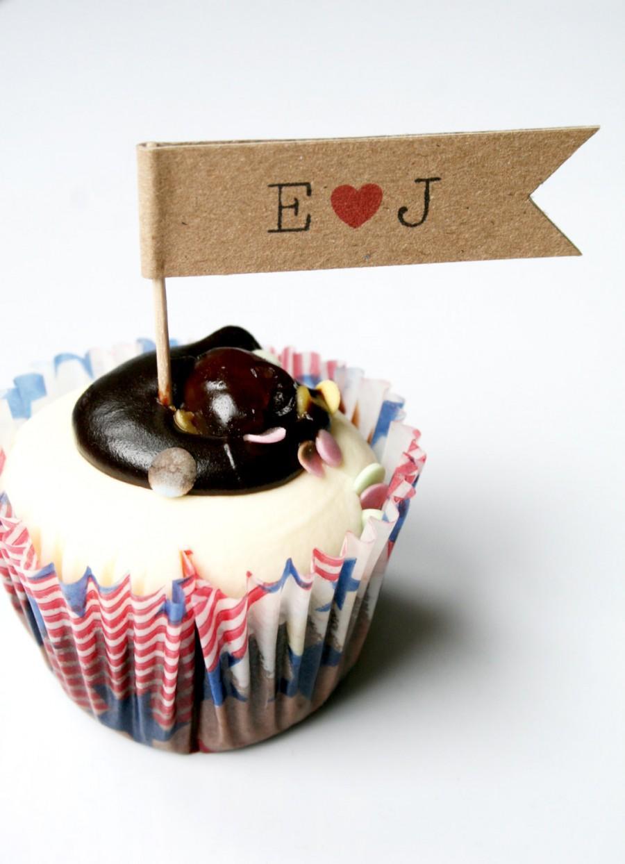 Mariage - 18 Pesonalised Wedding Cupcake Flags, Engagement, Anniversary, Cupcake Toppers - Personalised Cupcake Decoration