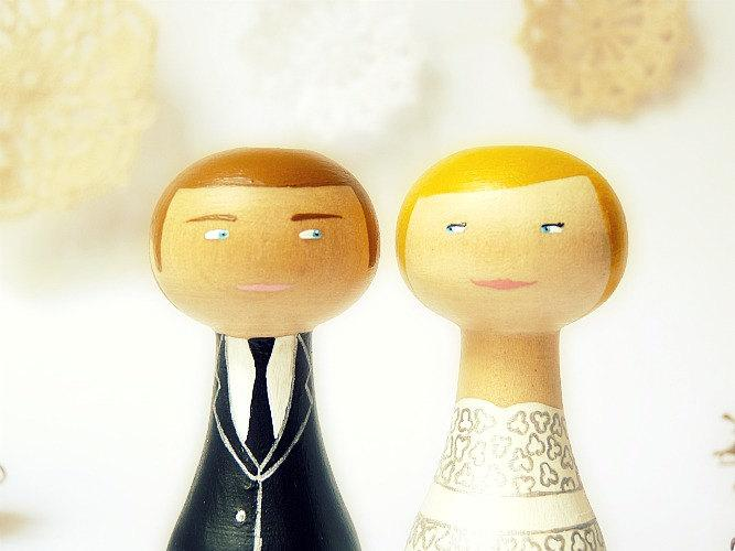 Wedding Cake Topper - Custom Wedding Personalized - Wooden Art Doll ...