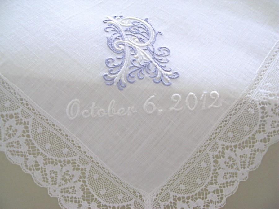 Wedding Handkerchief White Irish Linen Lace Edge With Clic Zundt 1 Initial Monogram And Date