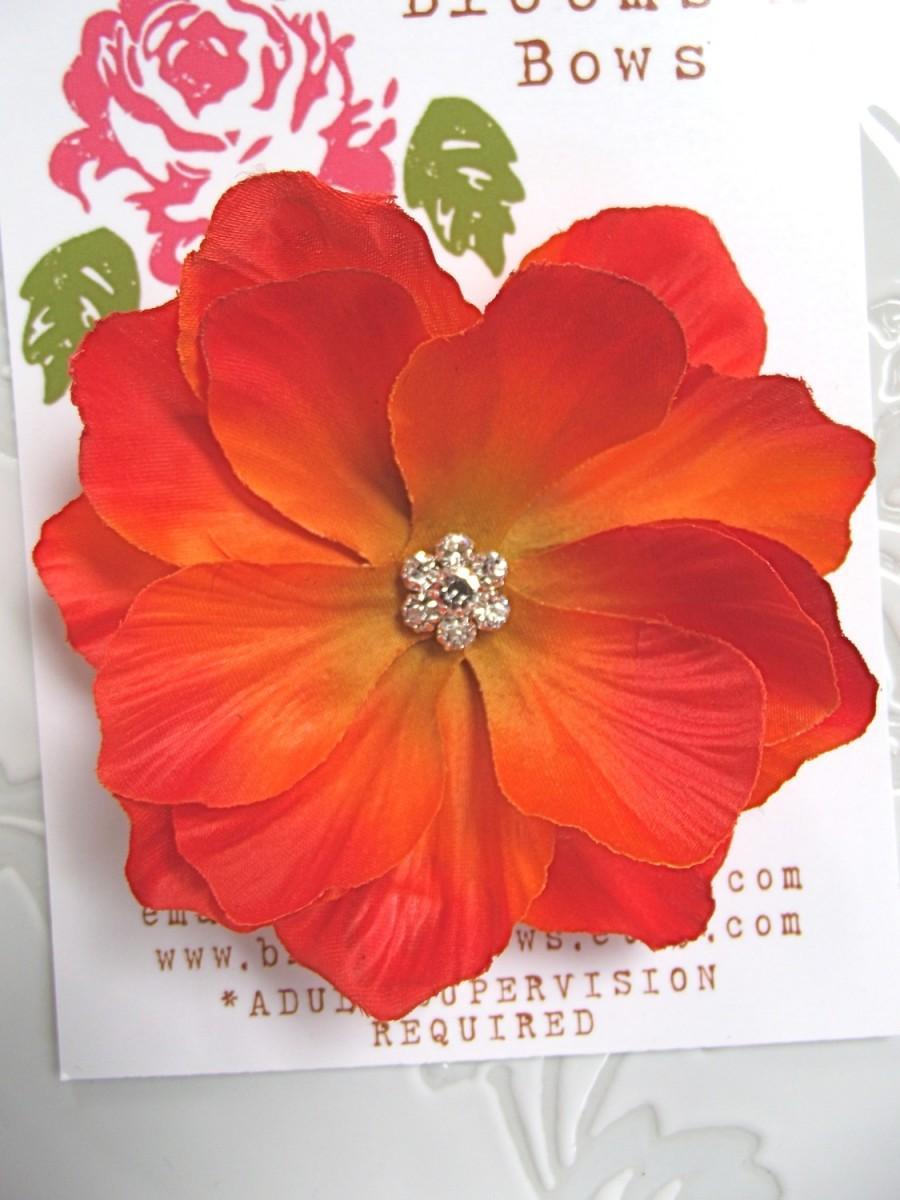 Orange Flower Hair Clip Orange Poppy Flower Hair Clip Tropical