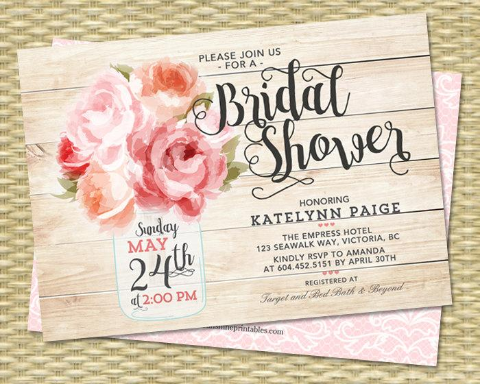 Bridal Shower Invitation Mason Jar Floral Pink Peonies Rustic Shabby Chic Raspberry Peach Coral Brunch ANY EVENT