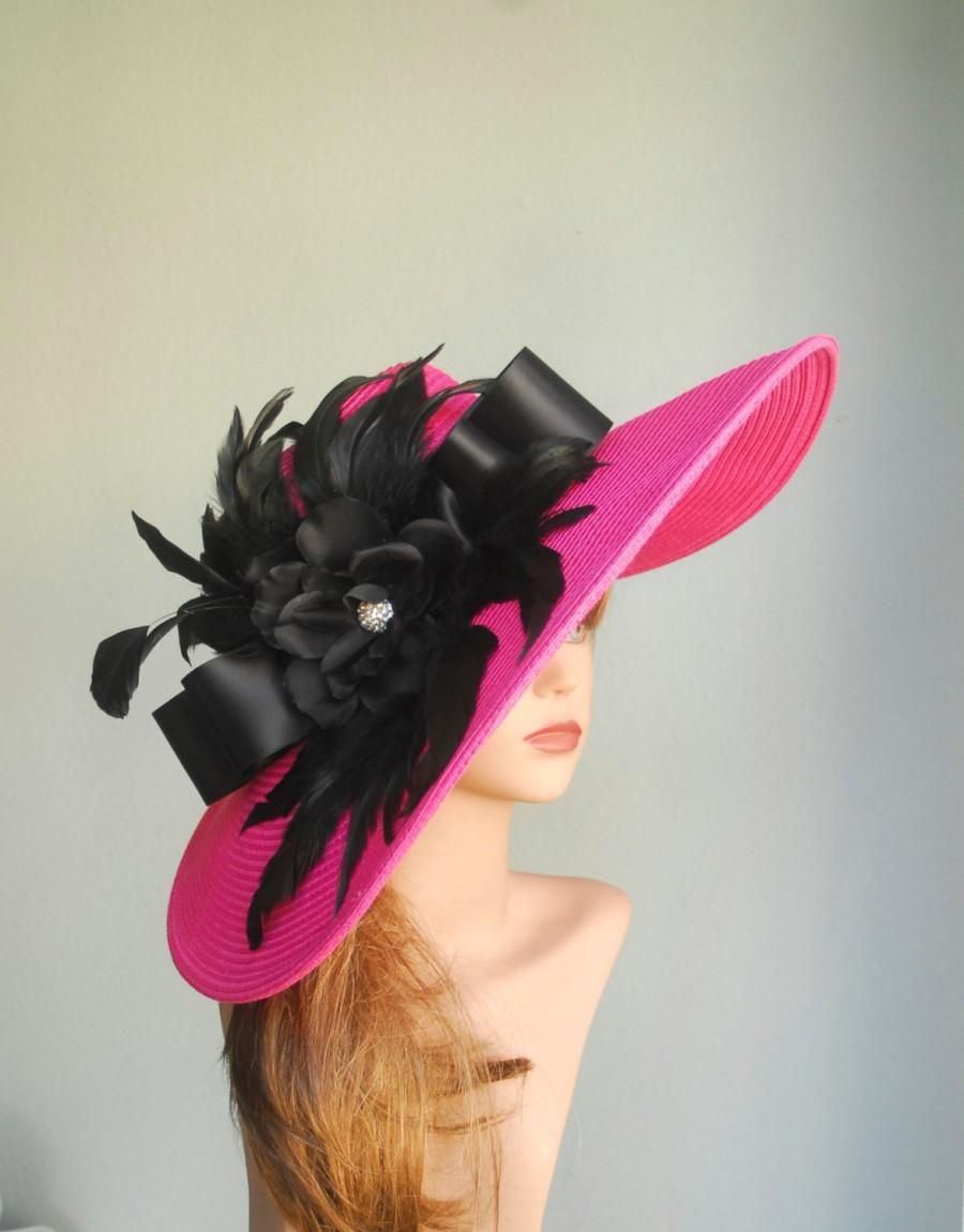 Pink Wedding Head Piece Kentucky Derby Hat Fascinator Wedding Accessory  Black Feather Cocktail Hat 03235ebef76