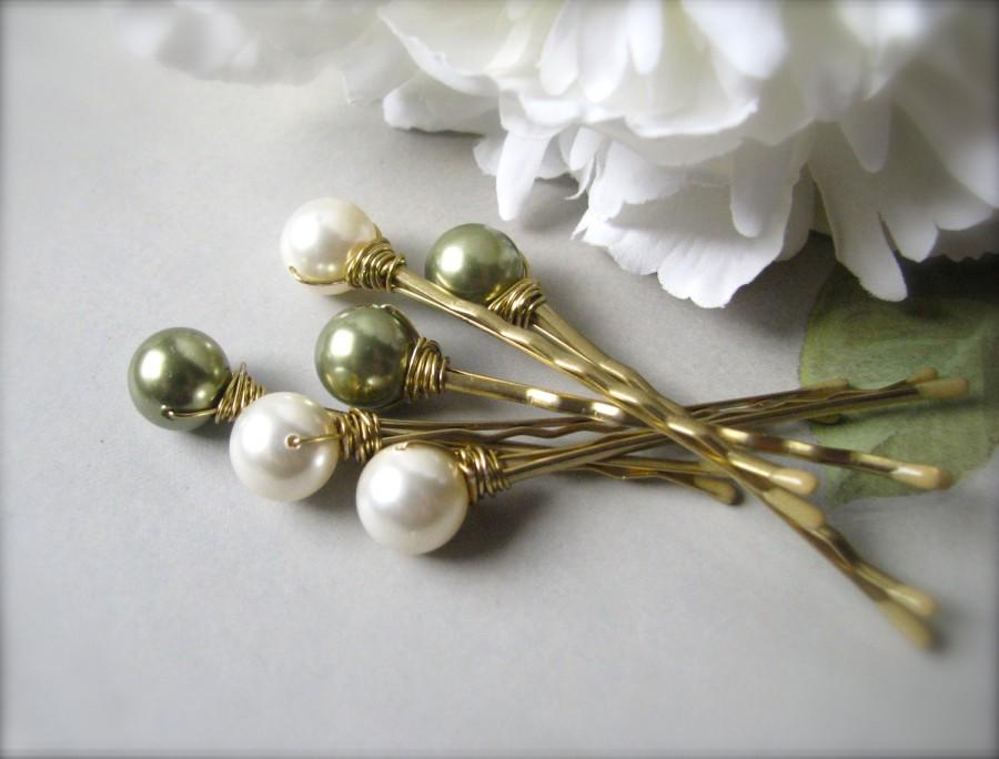 Wedding - Hair Pin Pearls in Ivory and Green Swarovski