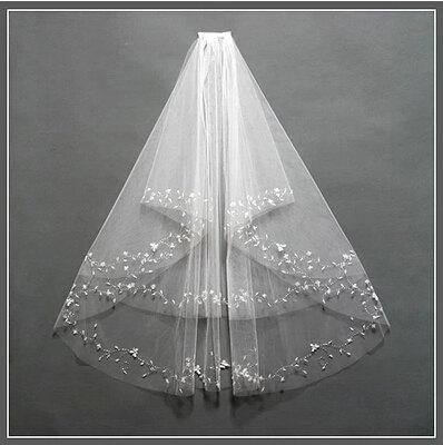 زفاف - Beautiful Bridal veil  white beaded veil high quality  veil short veil 2 layers bead ivory veil  with comb veil with sequins