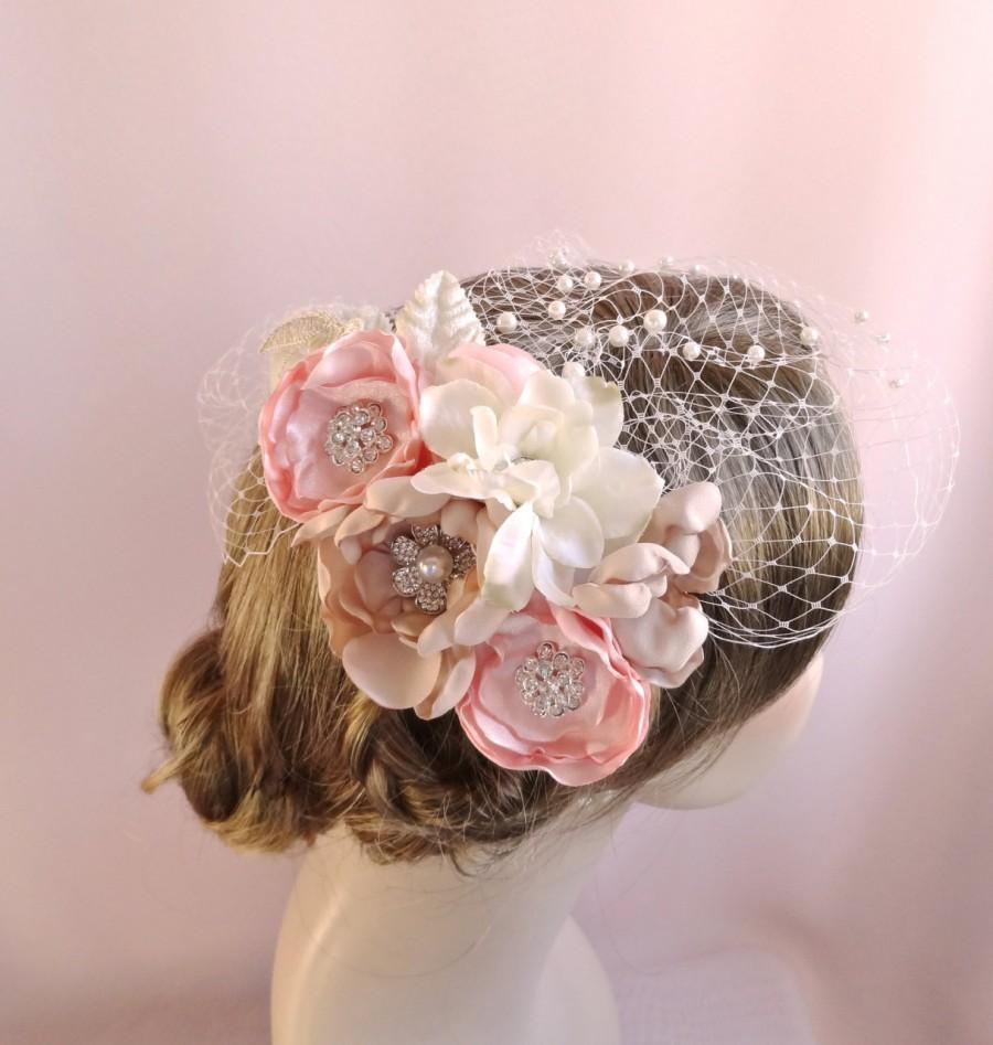 زفاف - Birdcage veil with flowers, flower headpiece, bridal hair accessory, rhinestone adornments, bridal veil pearls, pink champagne,  Style 805