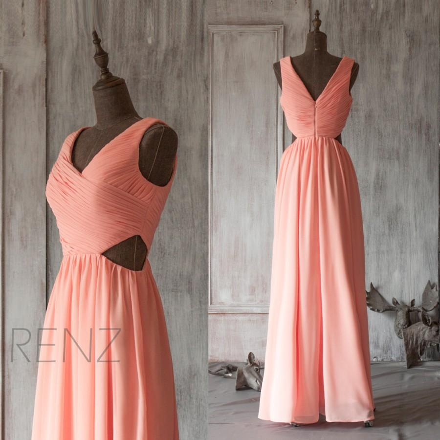 ec05a5e28c05 2015 Coral Bridesmaid dress, Open Back Peach Wedding dress, Deep V neck Prom  dress, Long Formal dress, Party dress floor length (F125)