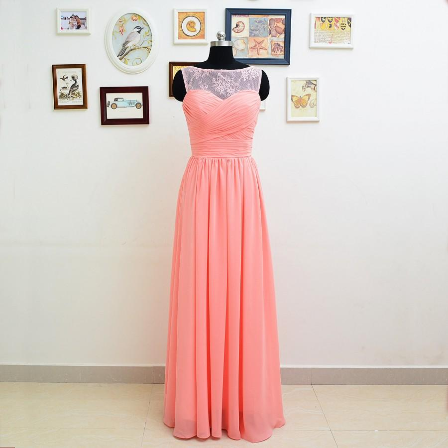 Свадьба - Long blush bridesmaid dresses top Lace and chiffon dress whith Lace Back long prom dress