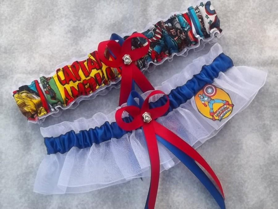 Wedding - Handmade wedding garters keepsake and toss CAPTAIN AMERICA Marvel Super Hero wedding garter set