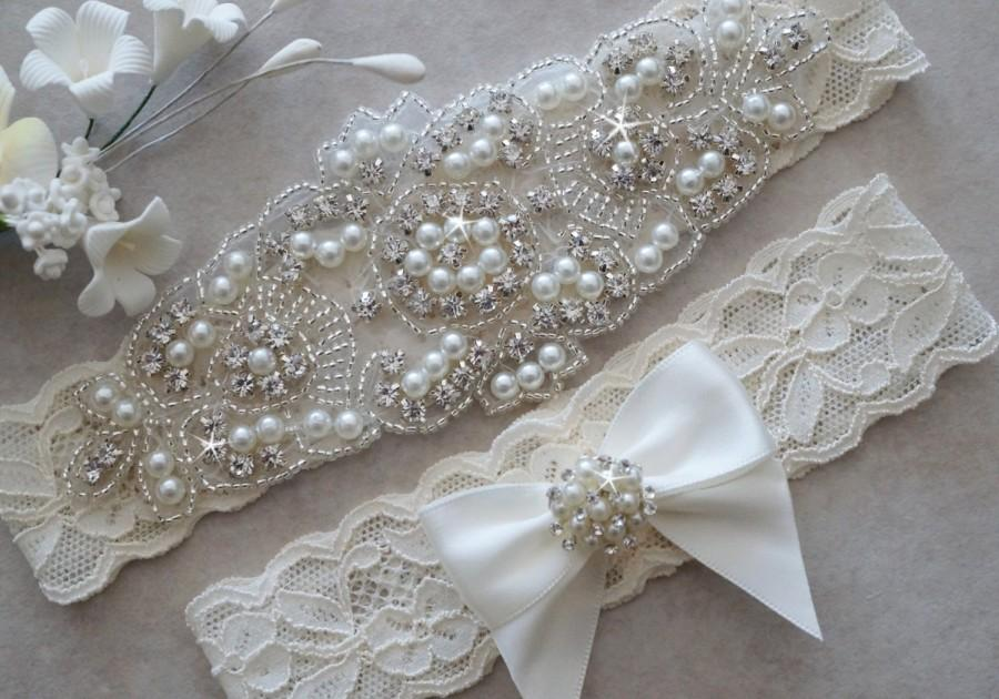Wedding - CLAIRE Style A-Wedding Garter - Bridal Garter - Pearl and Crystal Rhinestone Garter and Toss Garter Set