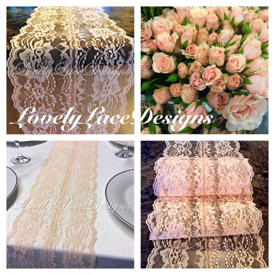 Mariage - Wedding Peach Lace Table Runner, 3ft -8ft long x 8in Wide/Rustic Weddings/Overlay/Etsy trends/tabletop Decor/Centerpiece/ENDS NOT SEWN
