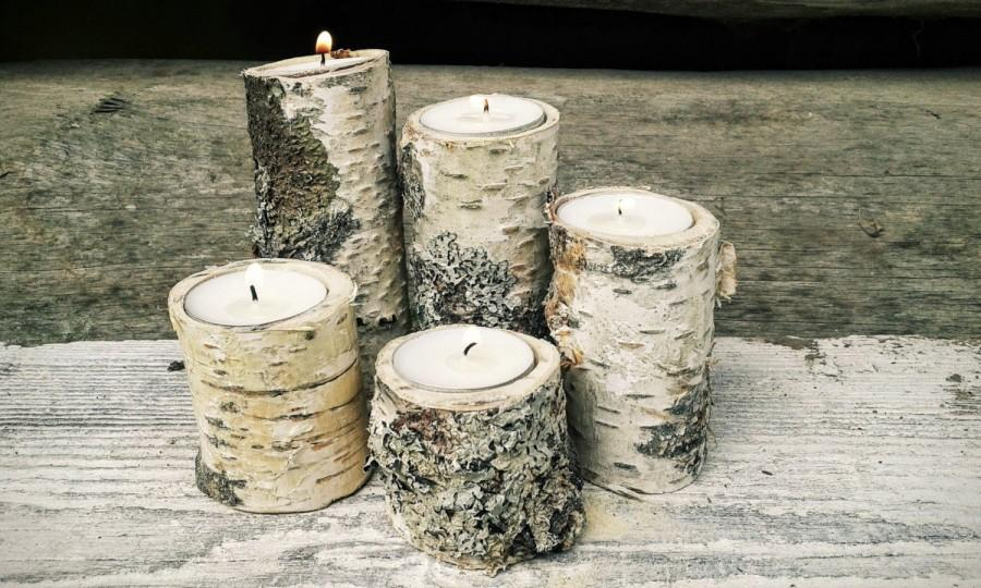 Свадьба - 5 Branch Candle Holders -  Candle Holders, Tree Slice, Wooden Candle Holders,